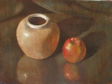 Apple-pot - 10x14 - glazed acrylic